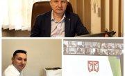 Na zdjęciu starosta Józef Tomal oraz wicestarosta Rafał Kudas podczas obrad sesji Rady Powiatu w formie online
